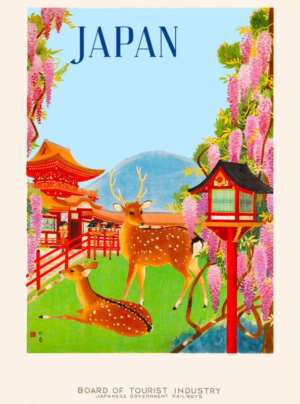 Japanese Deer Japan Asia Asian Vintage Travel Advertisement Art Poster Print