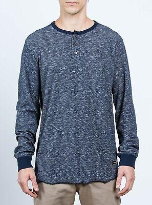 NWT Volcom MOXIE LS HENLEY Long Sleeve Casual Tee INDIGO BLUE 3Button Shirt MENS
