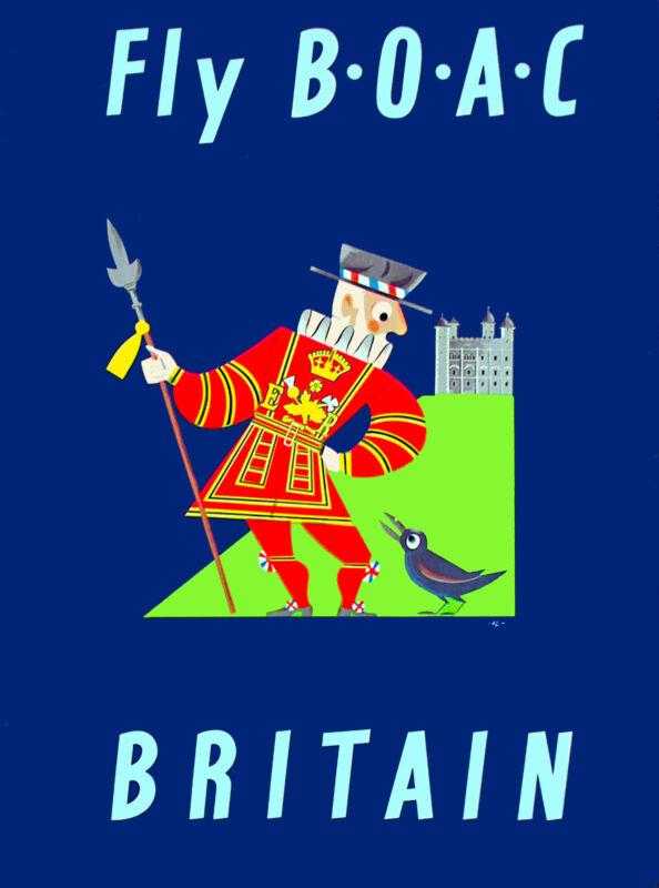 Great Britain England English Airplane Vintage Travel Advertisement Art Poster