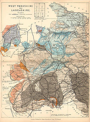 1889 HAND COLOURED GEOLOGICAL MAP ~ WEST YORKSHIRE &  LANCASHIRE LIMESTONE
