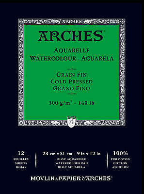 "1795092 ARCHES 9"" X 12"" 140 LB./300G COLD PRESS WATERCOLOR PAD 12 (300 Lb Cold Press)"