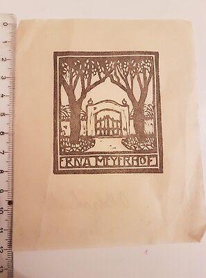 Exlibris für Erna Meyerhof. Original Holzschnitt auf Bütten mit Wasserzeichen.