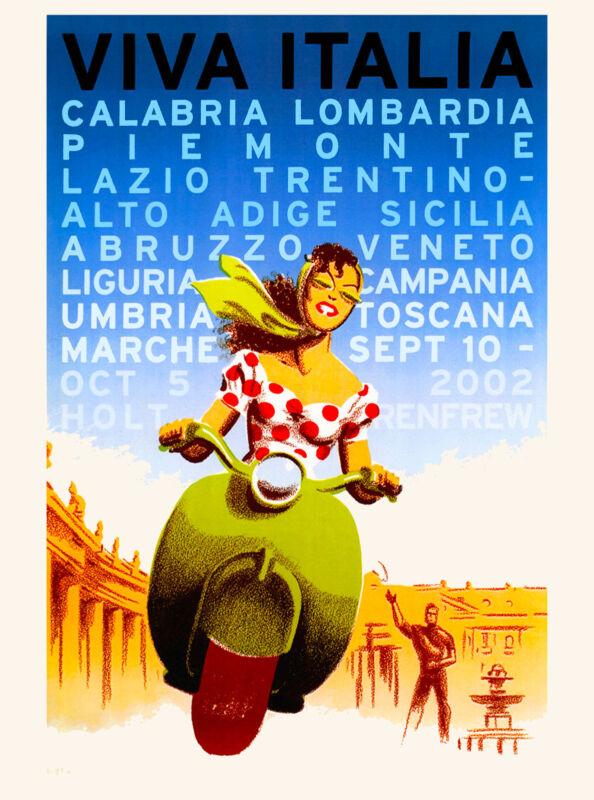Italia Girl on Vespa Italy Italian European Europe Travel Advertisement Poster