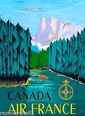 Canada by Air Airline Vintage Canadian Travel Advertisement Art Poster