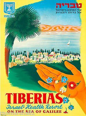 Israel Tiberias Resort Sea of Galilee Vintage Travel Advertisement Poster