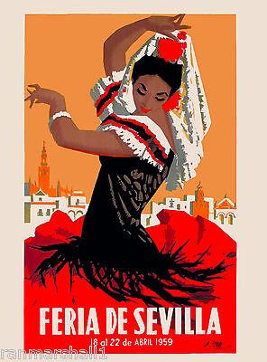 1959 Feria de Sevilla Seville Spain Spanish Vintage Travel Advertisement Poster