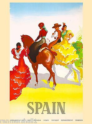 Senoritas on Horses Spain Spanish Vintage Travel Advertisement Poster