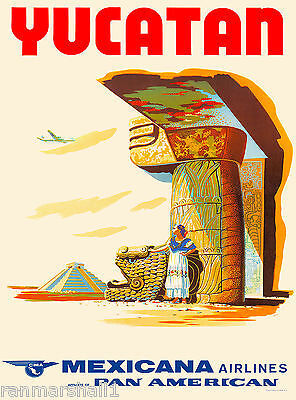 Yucatan Ruins Mexico Mexican Vintage Travel Advertisement Art Poster