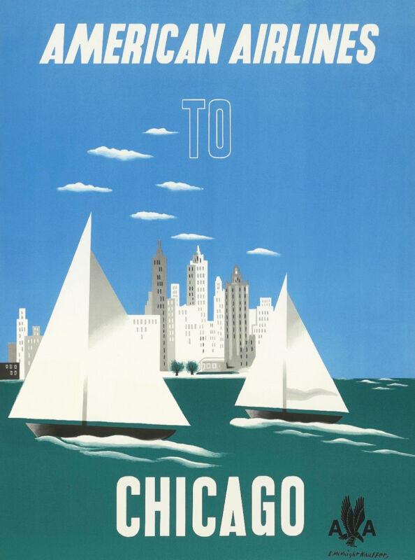 Chicago Illinois Sailboat  United States America Travel Advertisement Poster