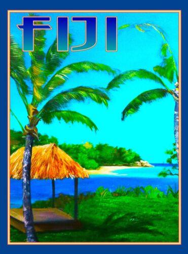 Fiji Island South Pacific Seas Ocean Beach Reef Travel Advertisement Art Poster