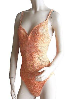 Solar Tan Thru Badeanzug mit Herzdekolleté durchbräunend Gr. 38 B-Cup, orange