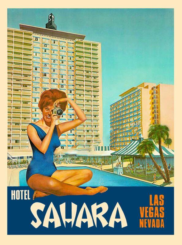 Las Vegas Nevada Hotel Sahara United States America Travel Advertisement Poster