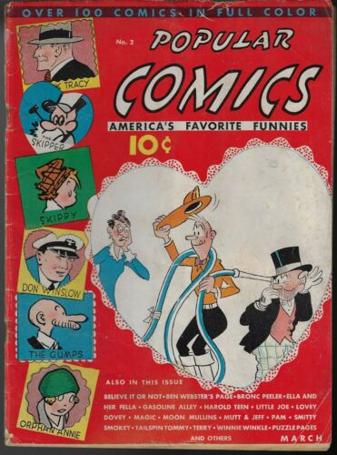 POPULAR COMICS # 2 March 1936, Dell Publishing EARLY RARE PRE SUPER HERO COMIC