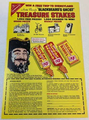 1968 Nabisco Sugar Daddy ad page ~ Disney BLACKBEARD