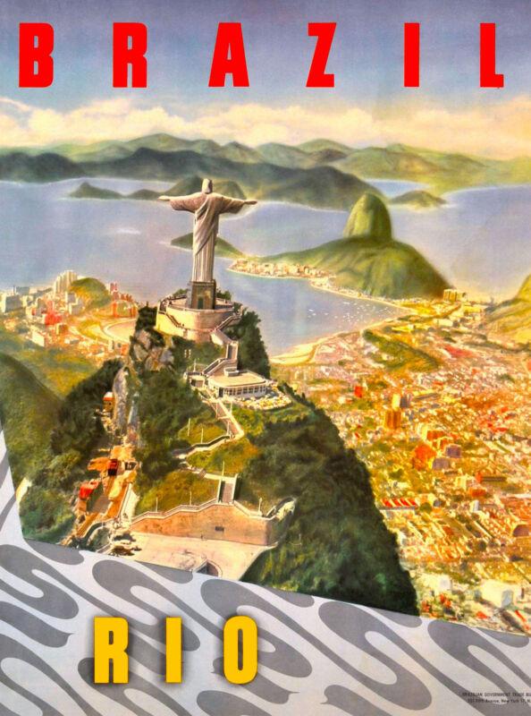 Rio de Janeiro Brazil Sugar South America Vintage Travel Advertisement Poster
