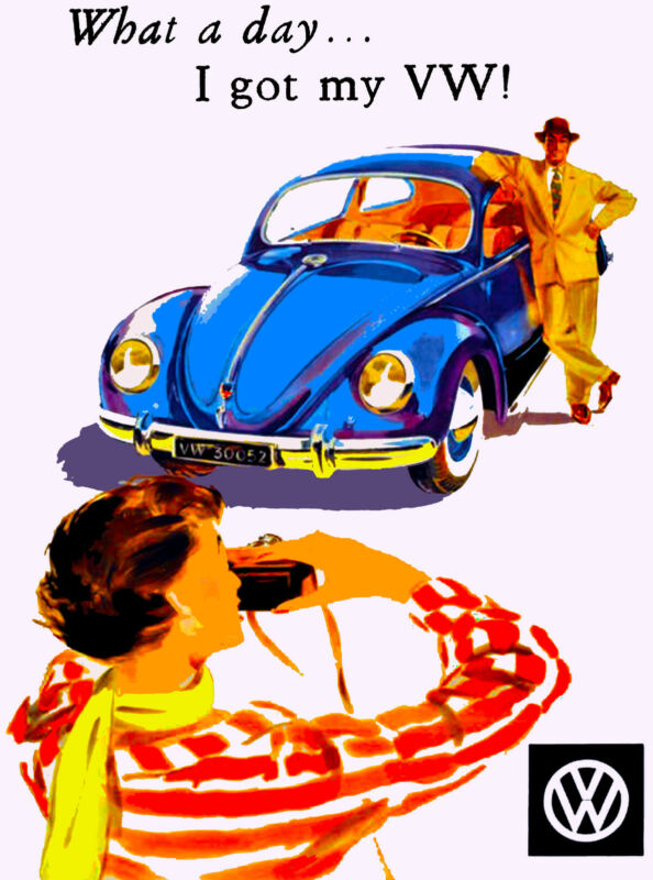 1956 Volkswagen German Germany Automobile Race Car Advertisement Vintage Poster