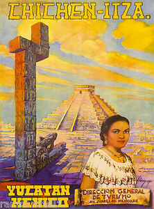 Yucatan Chichen-Itza Mexico Mexican Vintage Travel Advertisement Art Poster