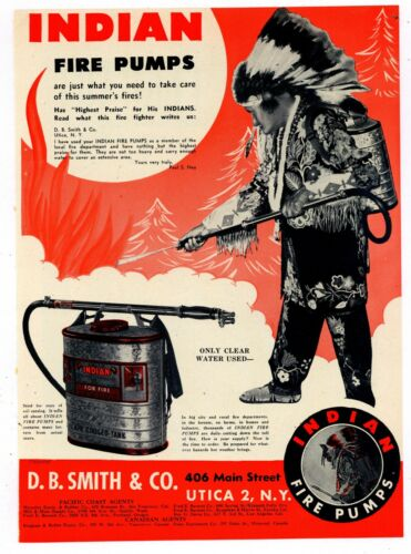 1947 D.B. Smith Co. Ad: Indian Fire Pumps - Native Theme - Utica, New York