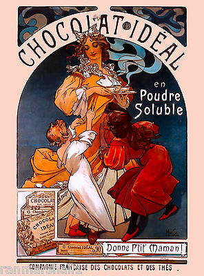 Chocolat Ideal French Nouveau Alphonse Mucha Vintage Advertisement Poster
