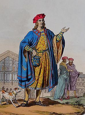 1812 Mode Kostüm Aufdruck Hand Bemalt 1450 Viscount Beaumont Höfling