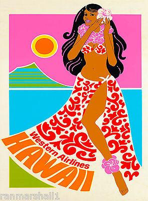 Hawaii Oahu Hawaiian United States America Vintage Travel Advertisement Poster