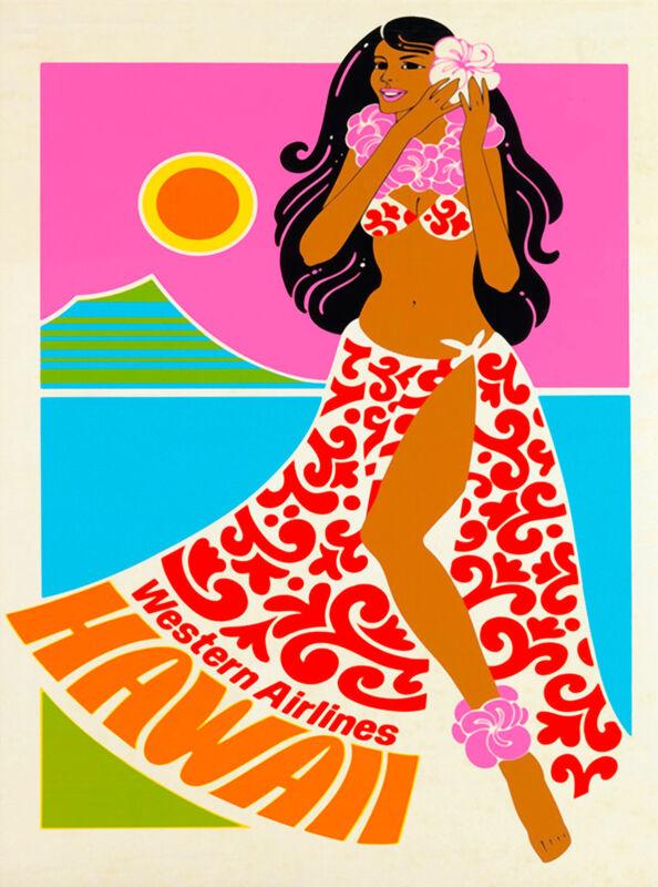 Hawaii Oahu Hawaiian United States Western Air Vintage Travel Poster Print