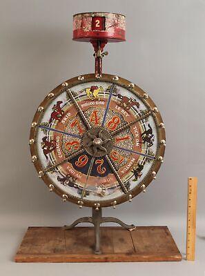RARE Small Antique HC Evans Racehorse Horse Racing Gambling Tabletop Game Wheel