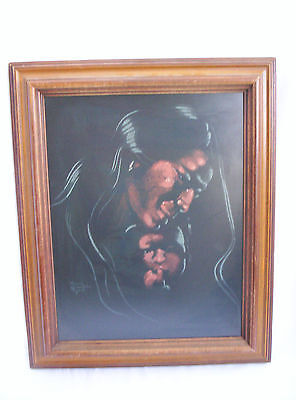 - Nancy Mclaughlin Powell Acrylic on Velvet Indian with Child Painting Signed