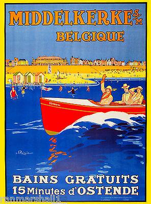 Middelkerke Belgique Belgium European Vintage Travel Art Advertisement Poster