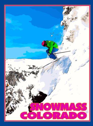 Snowmass Ski Aspen Colorado United States Amerca Travel Advertisement Poster