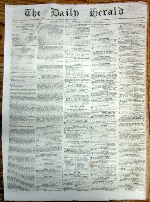 1854 newspaper with a MYTH on the ORIGIN of NORWAY