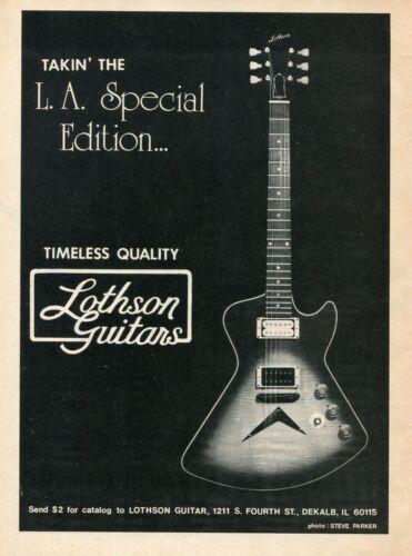1982 Print Ad of Lothson LA Special Edition Guitar