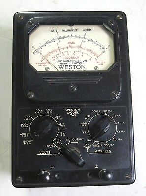 Weston Model 765 Type 1 Voltmillampamp Meter Vintage Industrial Surplus Good