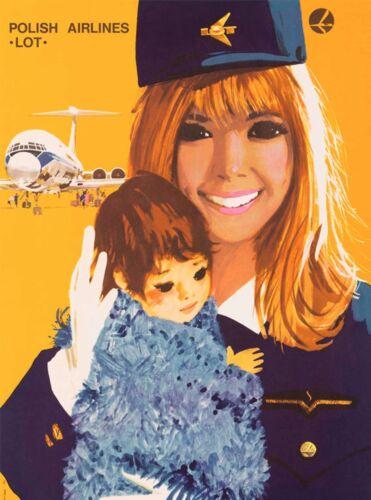 Polish Airlines Poland Stewardess Vintage Airline Travel Art Poster Print
