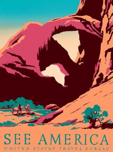 1939 See America Arches National Park Utah Vintage Ad Art Poster Print