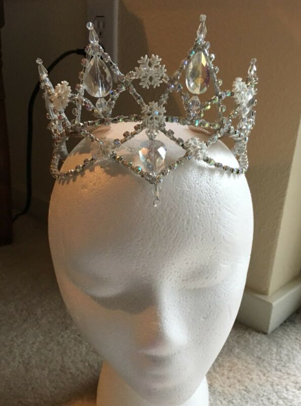 Professional Ballet Ice Snow Queen Silver White AB Crystal Tiara Headpiece NEW!