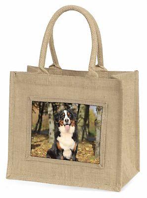 Bernese Mountain Dog Large Natural Jute Shopping Bag Christmas Gift , AD-BER7BLN