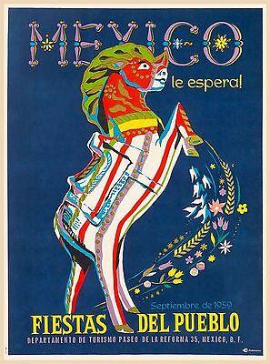 1959 Fiestas Del Pueblo Mexico Horse Vintage Travel Advertisement Poster Print
