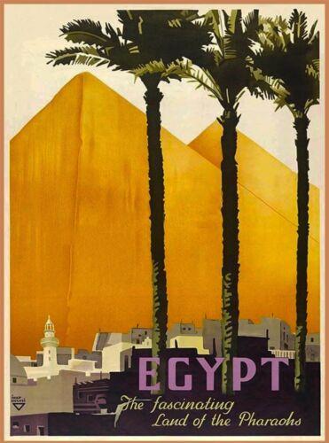 Egypt Land of Pharoahs Pyramids Vintage Egyptian Travel Advertisement Art Poster