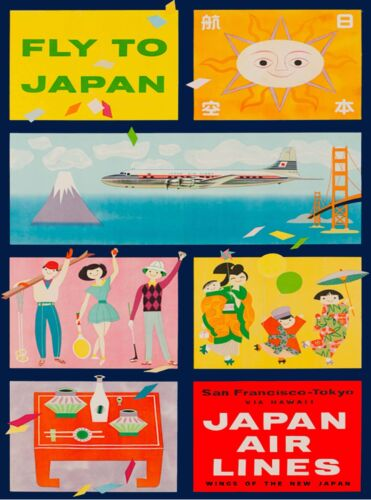 Fly to Japan Air Lines Vintage Airline Asia Travel Advertisement Poster Print