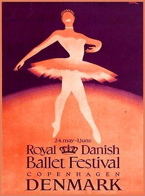Royal Danish Ballet Denmark Vintage Travel Advertisement Art Poster Print