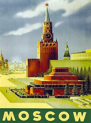 Moscow Russia Russian Vintage Travel Advertisement Art Poster Print