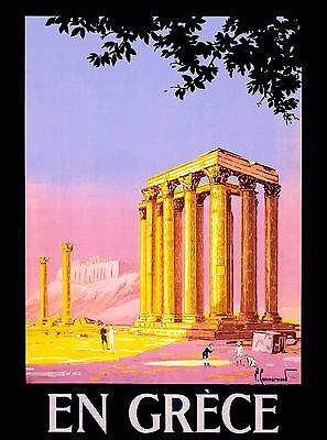 En Grèce Greece Greek Europe European Vintage Travel Advertisement Poster