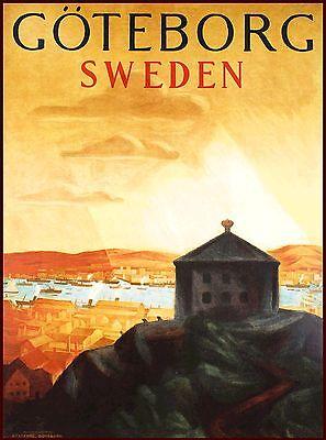 Gothenburg Sweden Swedish Scandinavia Vintage Travel Poster Art Advertisement