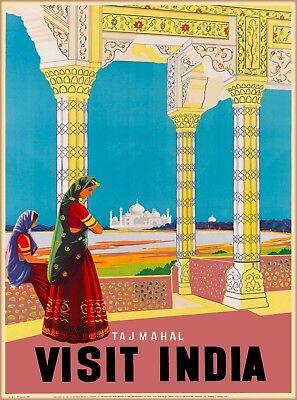 Taj Mahal Visit India Southeast Asia Vintage Travel Advertisement Poster Print