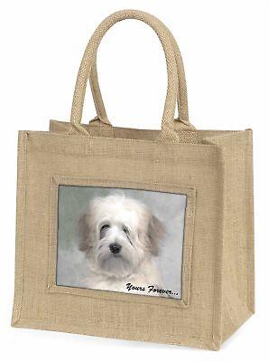 Tibetan Terrier 'Yours Forever' Large Natural Jute Shopping Bag Chri, AD-TT1yBLN