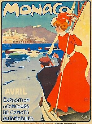Monaco Exposition Monte Carlo France Vintage Travel Art Poster Advertisement