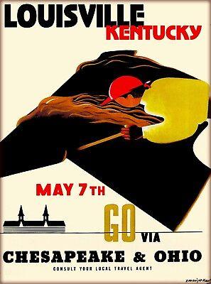 Louisville Kentucky Horse Race Vintage Railroad Travel Advertisement Art Poster