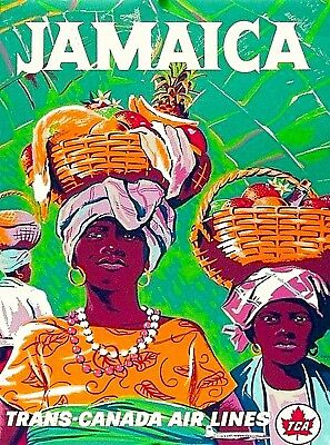 Jamaica Trans Canada Air Lines Caribbean  Vintage Travel Advertisement Poster