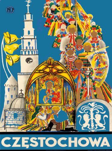 Czestochowa Poland Polish Europe Vintage Advertisement Travel Art Poster Print